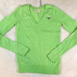 Hollister Neon Preppy V Neck Sweater